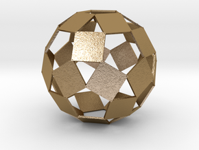 Open Rhombicosadodecahedron in Polished Gold Steel