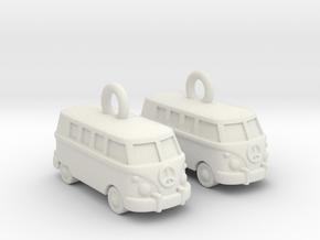 VW Van Earrings in White Premium Versatile Plastic