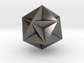 0415 Great Dodecahedron (F&full Color, 8cm) #001 in Polished Nickel Steel