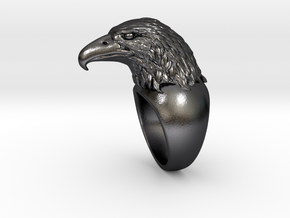 Eagle_Ring_18mm_Inside in Polished and Bronzed Black Steel: Large
