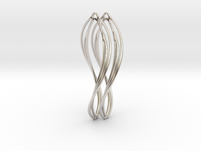 Flower 50 Twist - Pair in Rhodium Plated Brass