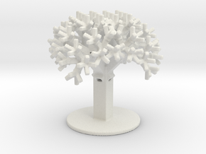 Rectangular Fractal Tree in White Natural Versatile Plastic