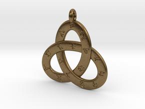 Norse/ Icelandic Rune Poem Triquetra 4.5cm in Natural Bronze