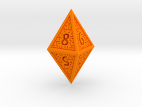 Hedron D8 Closed (Solid), balanced gaming die in Orange Processed Versatile Plastic