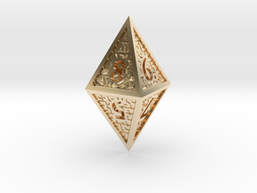 Hedron D8 Closed (Hollow), balanced gaming die in 14k Gold Plated Brass