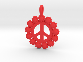 13- Daisy Circle/ Peace Sign in Red Strong & Flexible Polished: Small