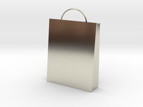 Plain Bag Charm in 14k White Gold