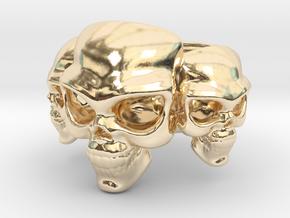 Skull Ring 'Trinity'  in 14K Yellow Gold: 6 / 51.5