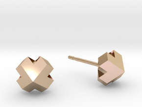 Four-face heart earrrings in 14k Rose Gold Plated Brass