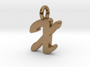 X - Pendant 2mm thk. in Natural Brass