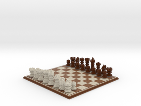 3D Pixel Chess Set - Wooden in Full Color Sandstone