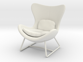 Miniature Lazy Armchair - Calligaris in White Natural Versatile Plastic: 1:12