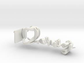 3dWordFlip: Doug/Peggy in White Natural Versatile Plastic