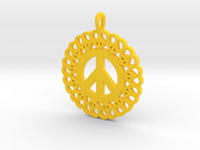 17- Peace Heart circles  in Yellow Processed Versatile Plastic: Small
