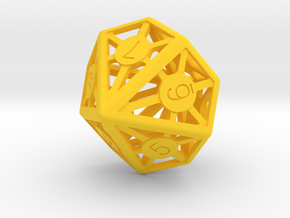 10 sided die in Yellow Processed Versatile Plastic