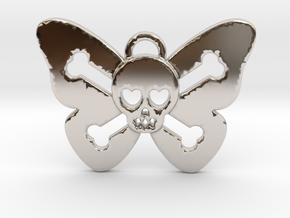 Cute Butterfly Skull in Platinum