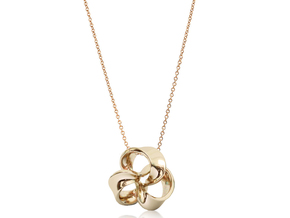 Flower of Ribbon Pendant(M) in 14k Rose Gold Plated Brass
