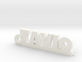 TAVIO_keychain_Lucky in Rhodium Plated Brass