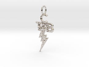 Elvis TCB Pendant in Rhodium Plated Brass