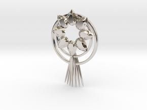 Sun goddess pendant(amaterasu) in Rhodium Plated Brass