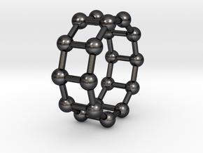 0345 Decagonal Prism V&E (a=1cm) #003 in Polished and Bronzed Black Steel