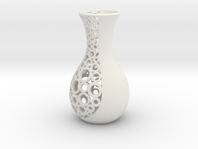 small open patterned vase 1 in White Natural Versatile Plastic