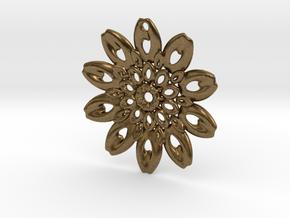 Fractal Flower Pendant III in Natural Bronze