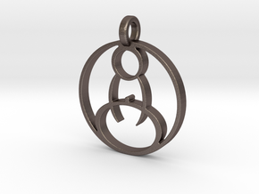 Meditation Pendant in Polished Bronzed Silver Steel