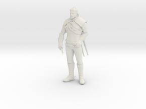 Witcher Geralt miniature high detail pose 1/3 in White Premium Versatile Plastic