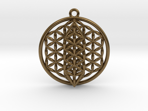 Flower Of Life w/ 15 Sephirot Tree of Life Small in Natural Bronze