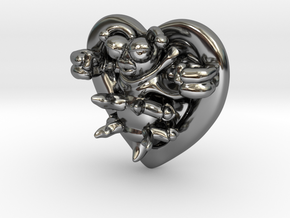 Lovebug Necklace Charm in Fine Detail Polished Silver