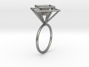 Levitating cube size 56 in Natural Silver