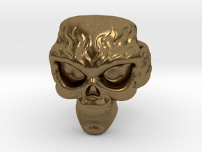 Elemental Skull Ring 'Fire' in Natural Bronze