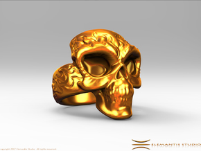 Elemental Skull Ring 'Fire' in White Premium Versatile Plastic