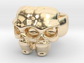Skull Ring 'Gemini' in 14K Yellow Gold: 6 / 51.5