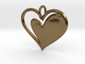 Heart to Heart Pendant V1.0 in Polished Bronze
