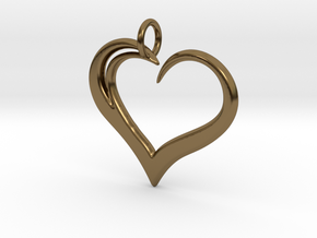 Heart to Heart Pendant V3.0 in Polished Bronze