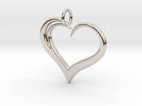 Heart to Heart Pendant V3.0 in Rhodium Plated Brass