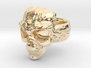 Elemental Skull Ring 'Lightning' in 14K Yellow Gold: 6 / 51.5
