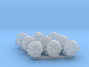 9 Miniature Scuba Helmets in Smoothest Fine Detail Plastic