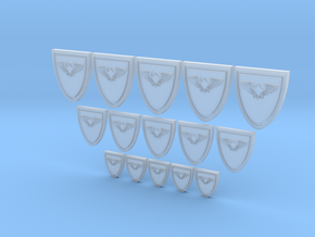 Shield Eagle - 15, 10mm, 15mm 20mm Icons in Smooth Fine Detail Plastic