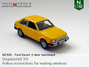 Ford Escort 2-door hatchback (US) (N 1:160) in Smooth Fine Detail Plastic