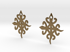 Adinkra Symbol of Unity in Diversity Earrings in Polished Bronze