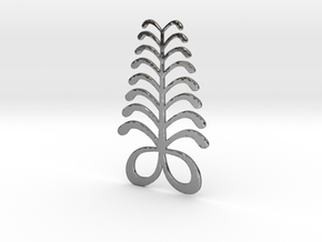 Adinkra Symbol of Eendurance - Flat Round Pendant in Polished Silver