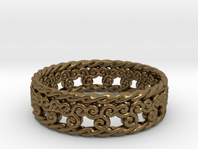 Triskelion Rope Ring Size 13 in Polished Bronze