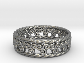 Triskelion Rope Ring Size 13 in Raw Silver