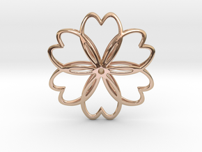 Cherry Blossom Symbol Pendant in 14k Rose Gold Plated Brass