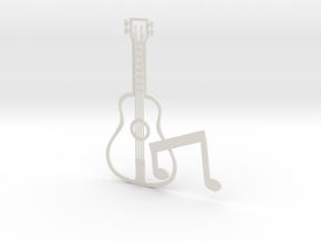 Guitar in White Natural Versatile Plastic
