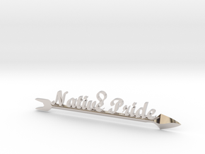 Native Pride Arrow 4 Inch Pendant in Rhodium Plated Brass