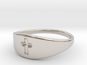 Cross ring A (US sizes 5.75 – 9.75) in Rhodium Plated: 9.75 / 60.875